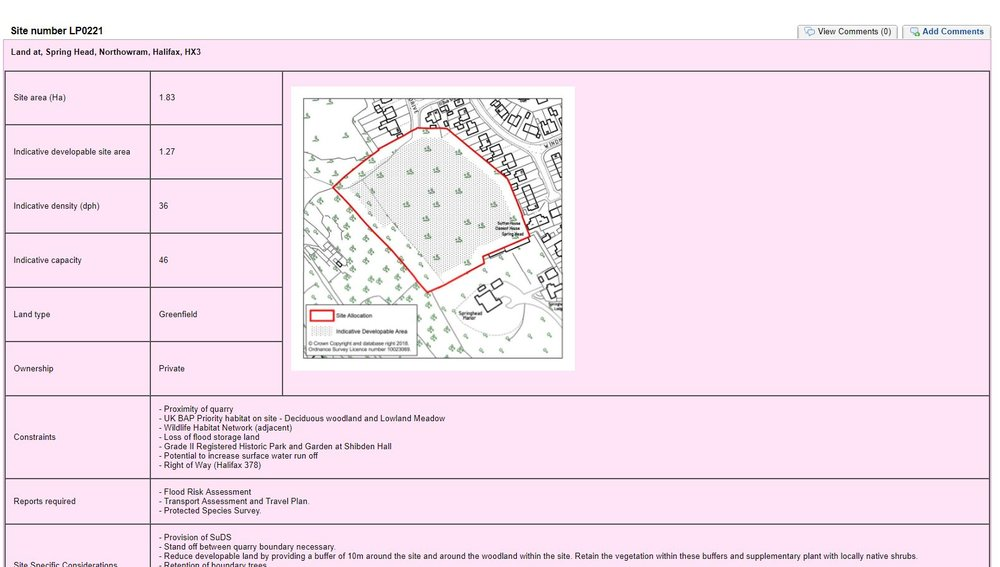 Example Local Plan Site