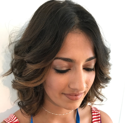 Soft bronze eye and bouncy waves for this ASOS'er!