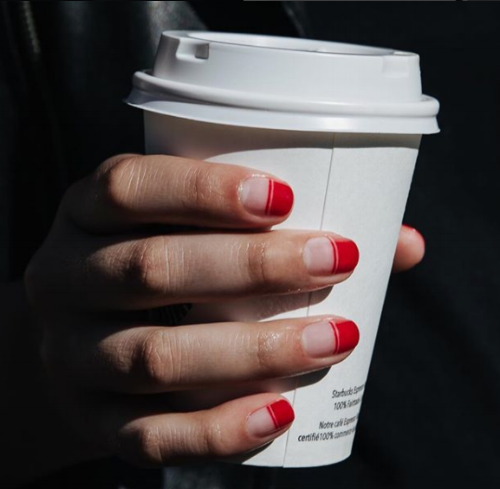 All in the details- Minimal red nail art designed by  @alexsteinherr