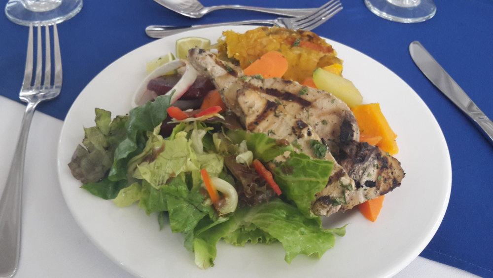 They fed us well too!! Lunch was grilled marlin, fresh salad, beet salad, steamed farm veggies and a sunflower seed veggie lasagne.