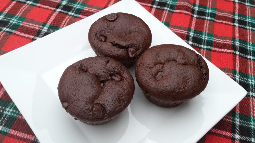 Flourless Double Chocolate Chip Muffins - Yields 9 muffinsAdapted from Running with SpoonsIngredients1/2 cup tahini1 large ripe Lacatan banana1 egg (local and pasture-raised)**1/4 cup honey*** 1/4 cup unsweetened cocoa powder (I use Cocobel)2 Tbsp. ground flaxseed1 tsp. vanilla extract1/2 tsp. baking soda1/4 cup chocolate chips, plus more for sprinkling on topPreparation1. Preheat oven to 375F and prepare a muffin pan by spraying 9 cavities with cooking spray. Set aside.2. Add all ingredients except for chocolate chips to a blender and blend on high until batter is smooth and creamy. Stir in chocolate chips by hand.3. Pour batter into prepared muffin pan, filling each cavity until it is about 3/4 full.4. Bake for 15-20 minutes, until the tops of your muffins are set and a toothpick inserted into the middle comes out clean. Allow muffins to cool in pan for ~10 minutes before removing. Store in an air-tight container for up to a week.To make vegan:** Replace the egg with 1 flax or chia-egg:Mix 1 tablespoon ground flax or chia seeds with 3 tablespoons water.***And replace the honey with maple syrup.