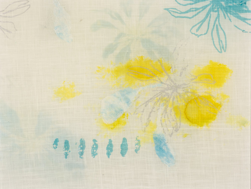 Exotic Glass 1. Screen printed and sublimated linen with embellishments and watercolour effects.