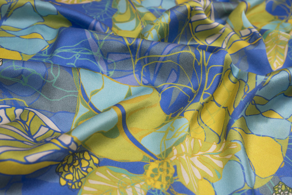 Exotic foliage print. Rich colours on silk satin, printed by Be Fab.