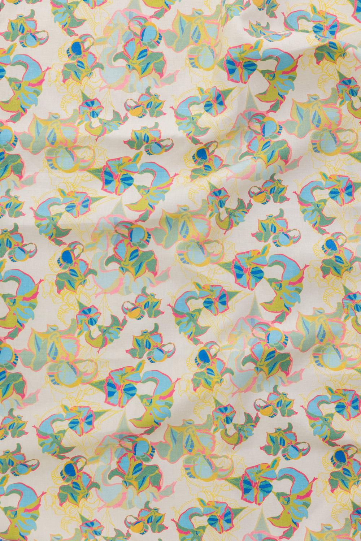 Oriental caclirepeat print on silk linen union fabric. playful and bright.