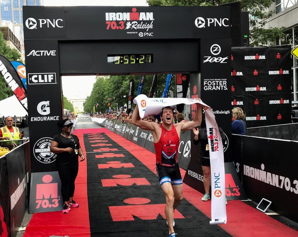 Ironman 70.3 Raleigh Finish. Photo by Ironman