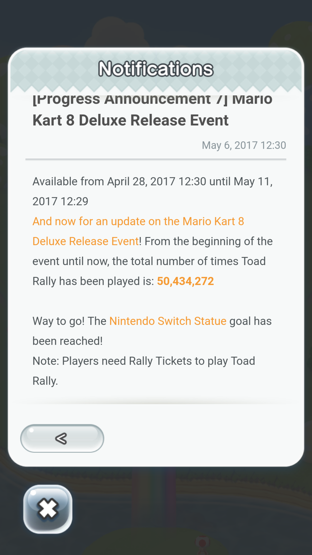 Mario Kart event won in 7 days