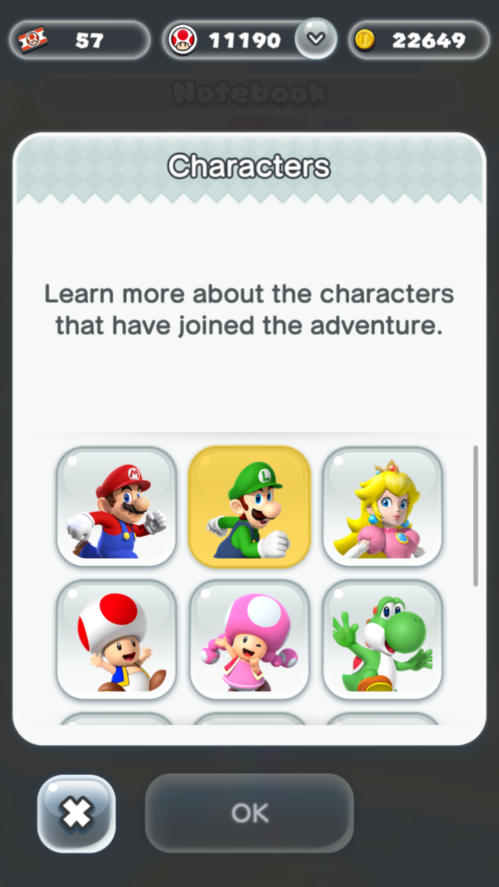6 out of 10 characters from the game. 1st row - Mario, Luigi and Princess Peach. 2nd row - Toad, Toadette and Yoshi.