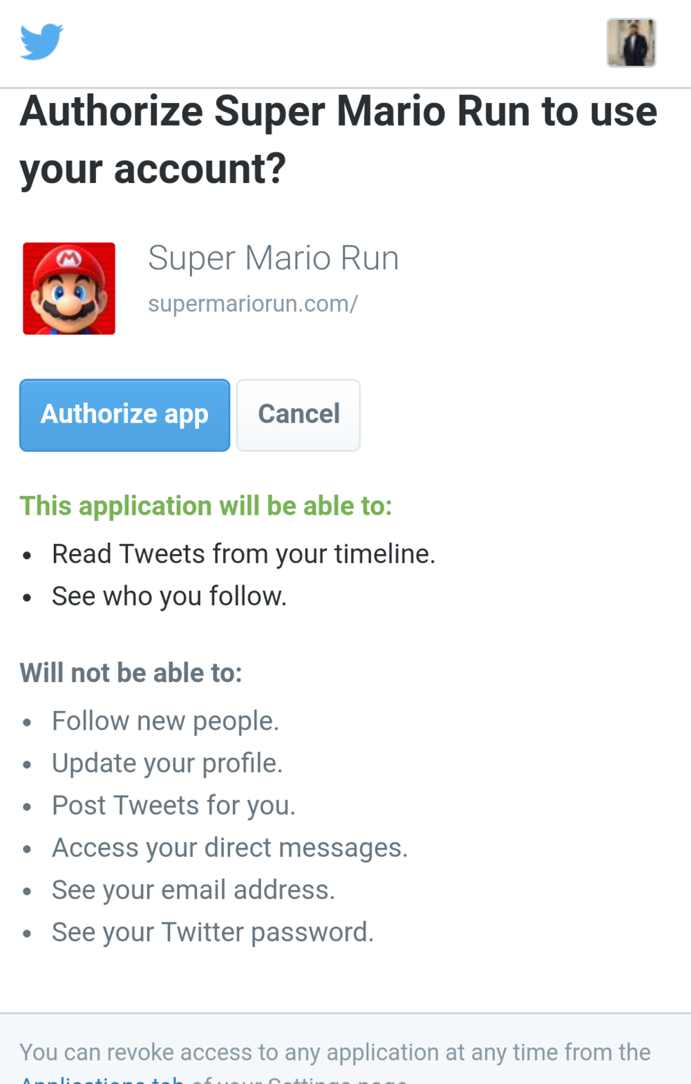 The Twitter authorization page itself looks a bit daunting. After authorizing, there were only 2 other Super Mario Run players that the app could find.