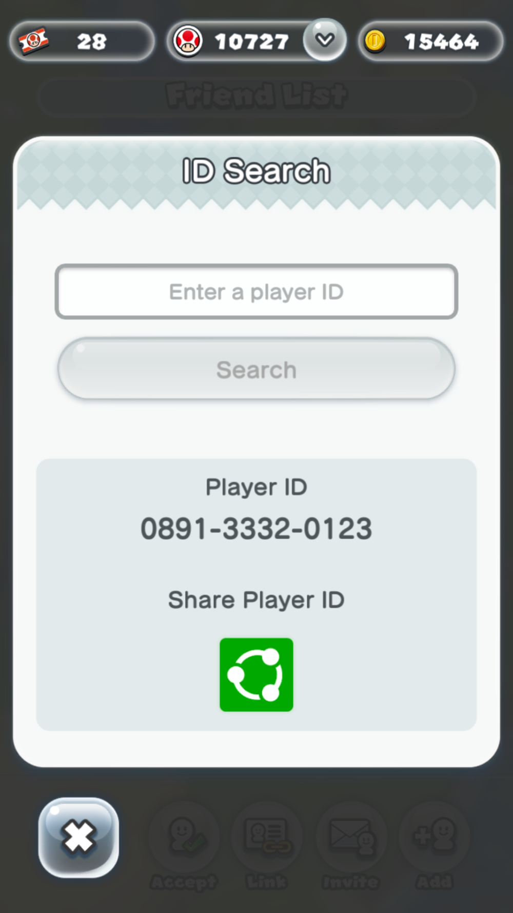 Player ID screen