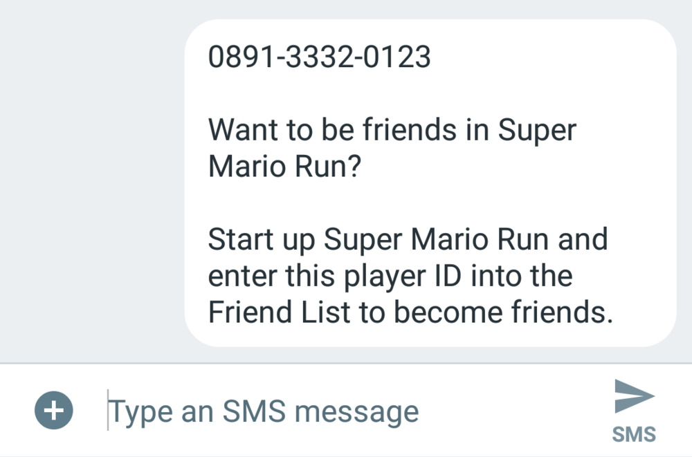 Sending Player ID via SMS