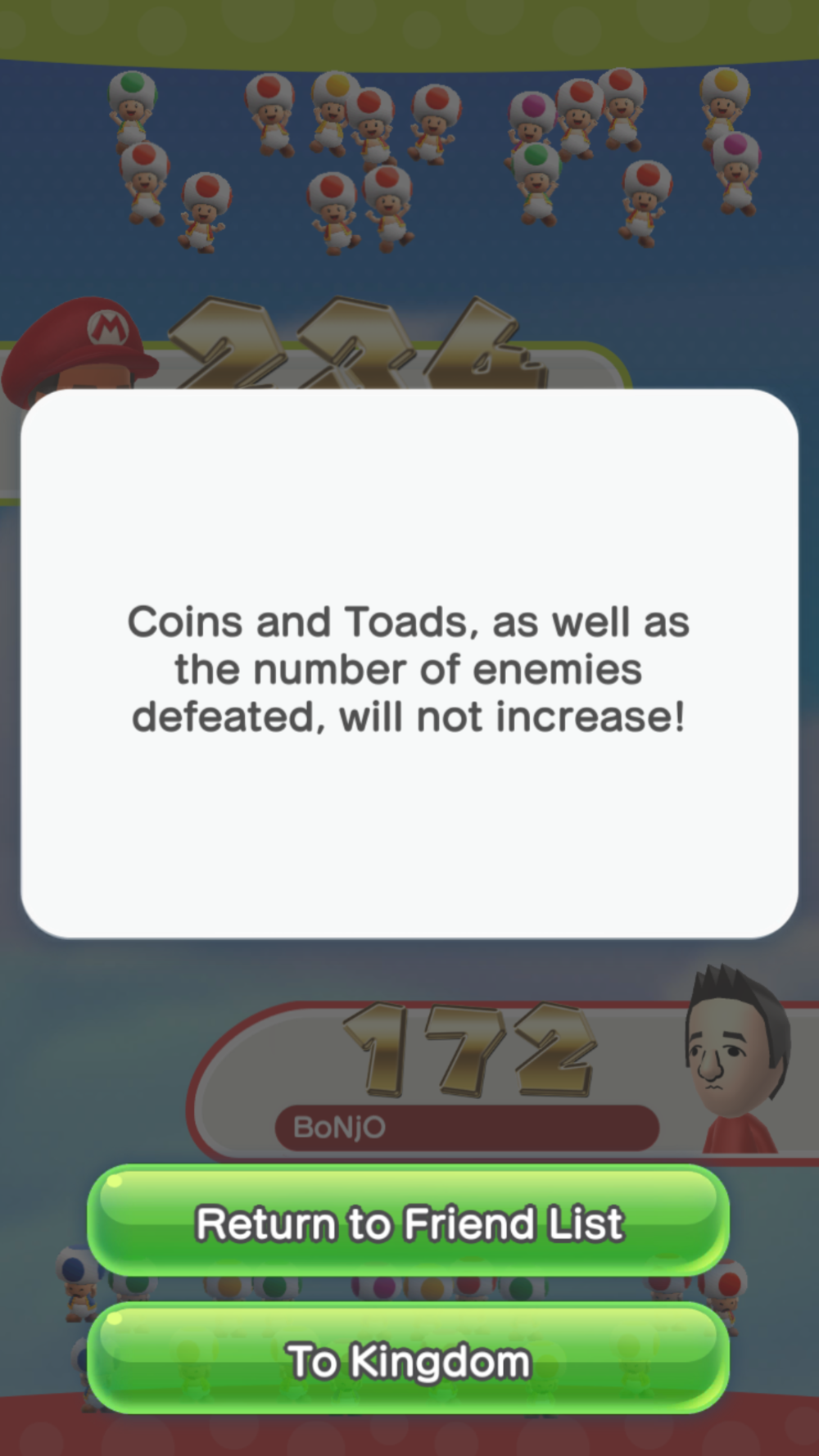 Friendly Run Results in Super Mario Run