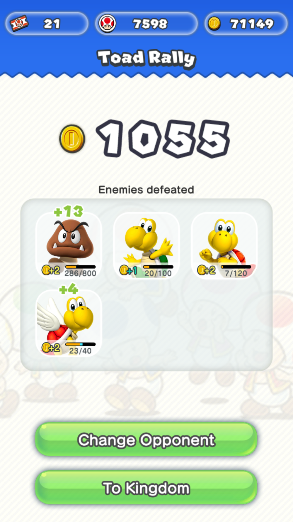 Post Toad Rally Screen - Enemies Defeated