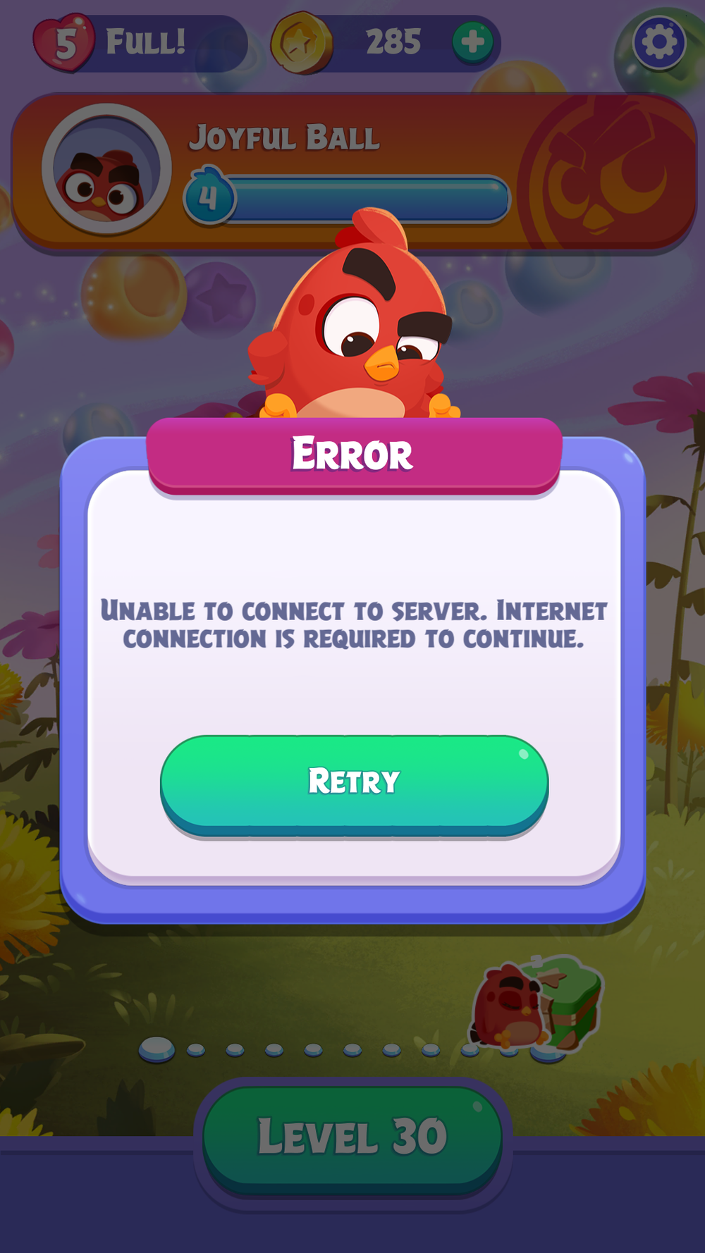 You get this message when you aren't connected to the internet. Not the best feature for a puzzle game