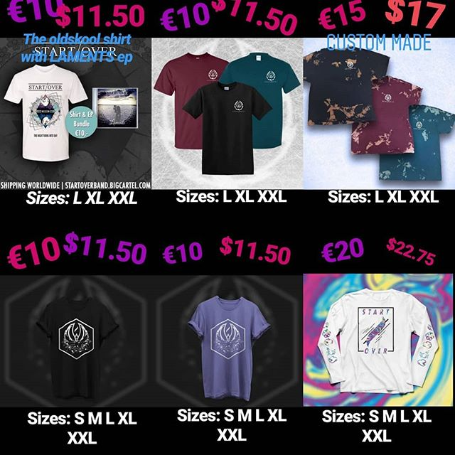 Get your merch now! We've got all sizes on the bottom row and L, XL, XXL on the top row!  Don't sleep, message us for some good deals :)