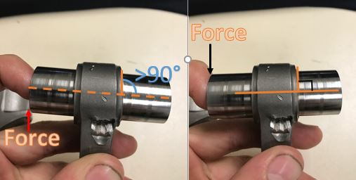 Wrist Pin bushing is squished out, only allowing play in one direction- the same direction the signs of bending indicate.