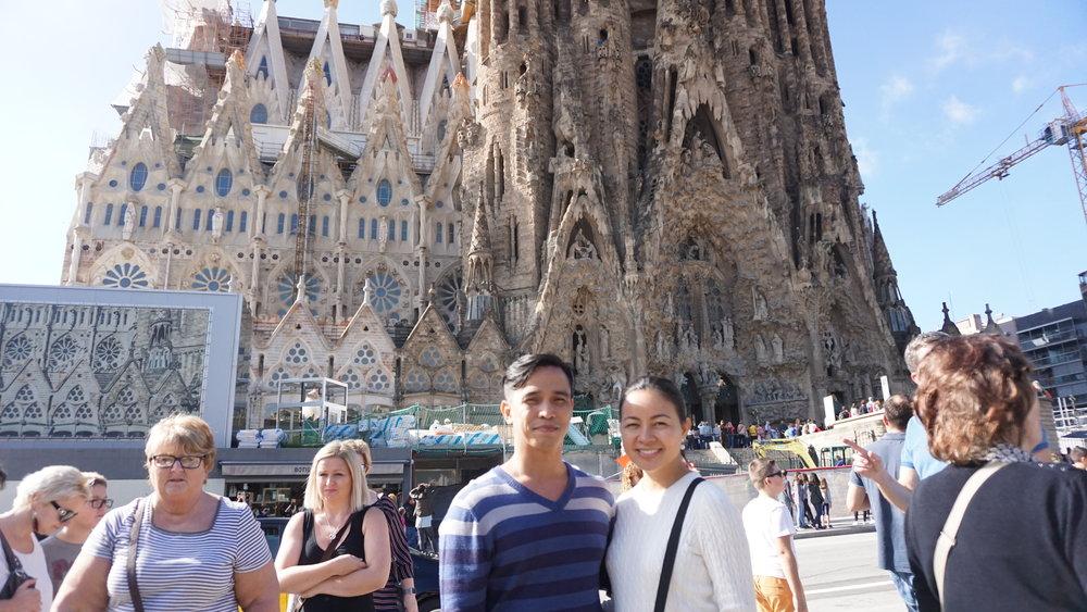 Joey and I at the winter side of La Sagrada Familia.