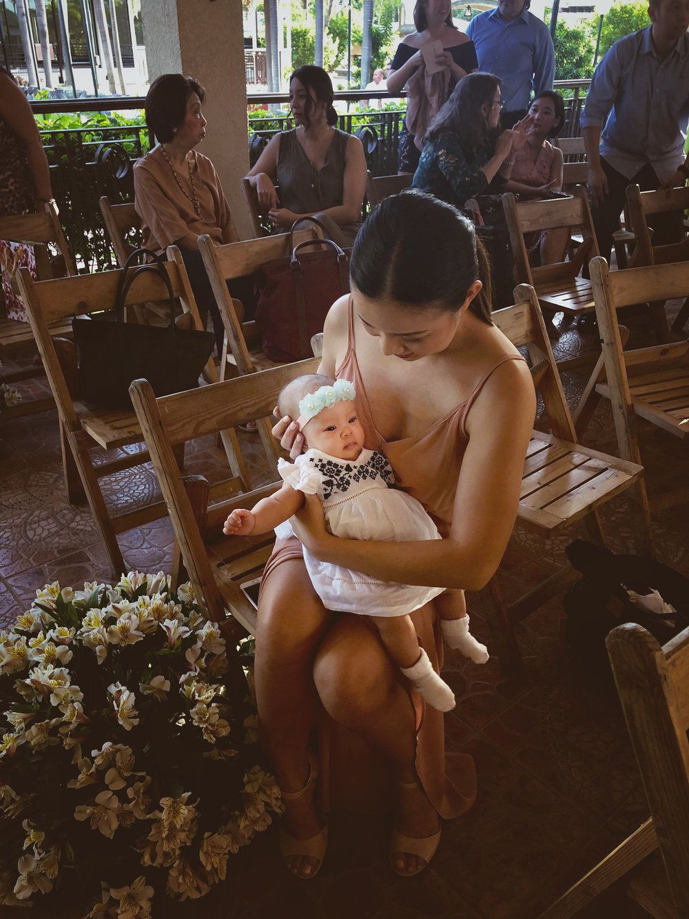 With ten-week-old Lilibubs at the first wedding we've attended as a family. <3