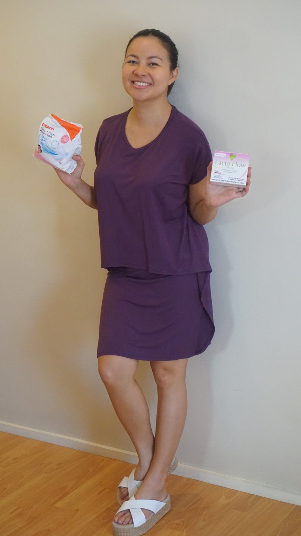 I don't remember exactly how many weeks postpartum I was in this picture. All I know is that I wanted to write an entry focusing on nursing; that's why I was holding breast pads and malunggay supplements haha! This nursing dress is from @elin_ph and my flats from @herabeatrice_onlineshop . Comfort is the priority!