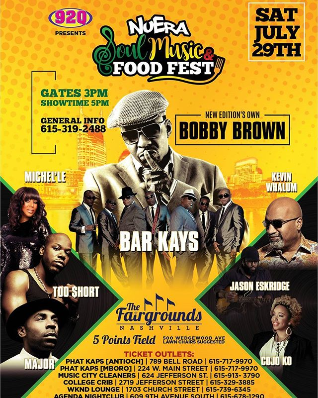 July 29th The NuEra Soul Music & Food Fest is live at the Nashville Fairgrounds featuring Bobby Brown x Bar Kays x Too Short x Michel'le x Major and more! Get your tickets today at www.nuerafest.com (link in bio)