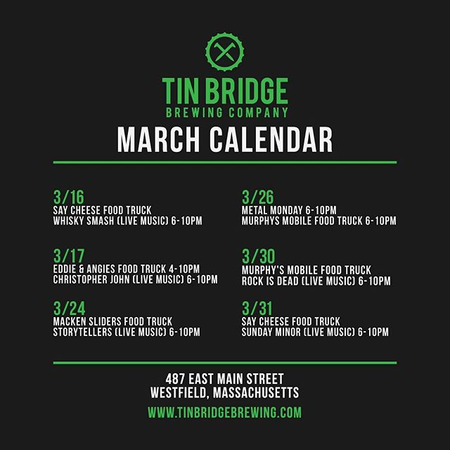 Here's our food/live music schedule for the month! @saycheesefoodtrailer will be here serving up delicious food all night! Our new peanut butter porter is tapped, and Whisky Smash will be playing live music from 6-10pm! #tinbridgebrewing #craftbeer #porter #drinklocal