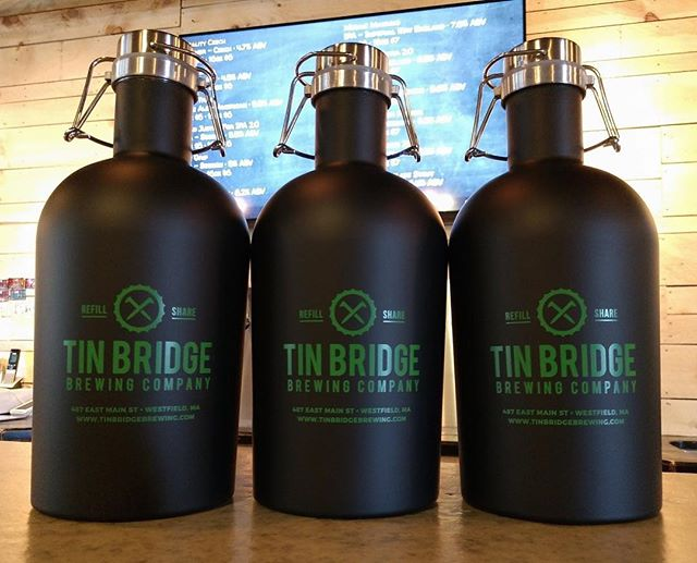 Got some new black stainless steel growlers to add to the collection! Limited supply, grab one while they last! The containers are $25 and fills/refills are $18. #tinbridgebrewing #westfield #growlers #craftbeer