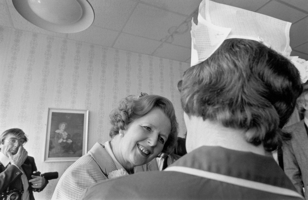 GB. Margaret THATCHER on the campaign trail in Cardiff, South Wales and Bristol. A visit to Singleton Hospital in South Wales.