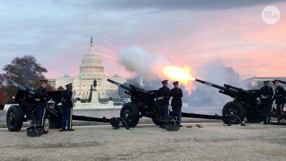 Салют «21 gun» на честь 41-го Президента США Джорджа Буша-старшого  Photo: USA Today