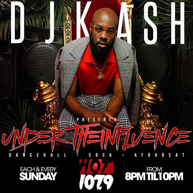 "Tune into ""Under the influence""  8p-10p on @hot1079atl with @djkashatl nothing but Dancehall, soca and afrobeat or log on to hotspotatl.com"