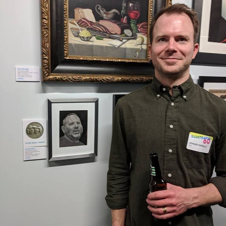 Edward Kinsella III after receiving the Silver Medal from Society of Illustrators.