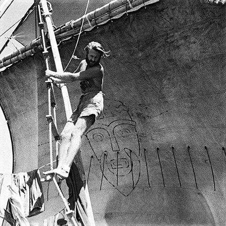 Thor Heyerdahl aboard Kon Tiki