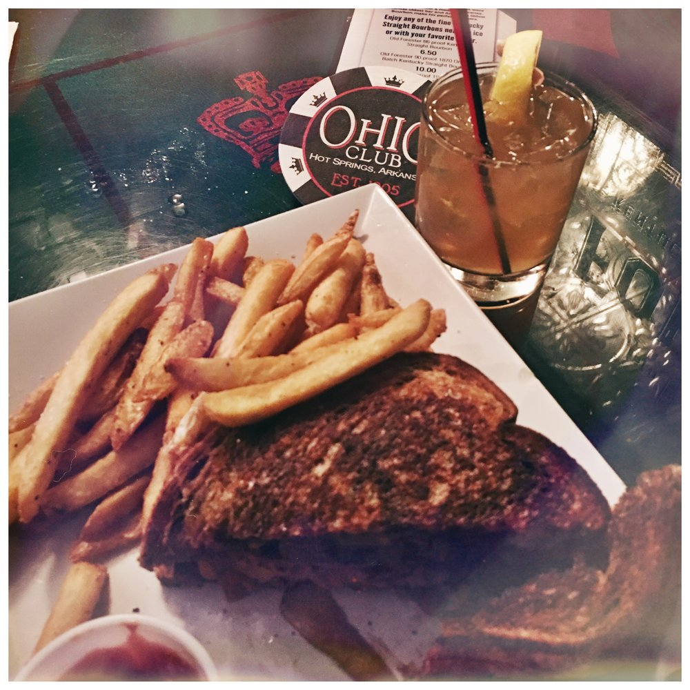 The Ohio Club's Patty Melt & some delicious classic cocktail.