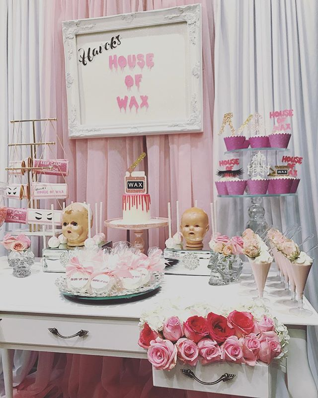 Grand opening today! $12 brows! & We have bubbly and desserts😍💕🖤 @havokshouseofwax