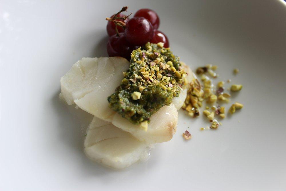 Pistachio Pesto with Cod