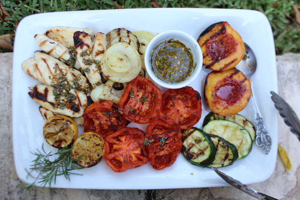Grilled Haloumi, Fruit and Veggies with Rosemary-Chili Vinaigrette