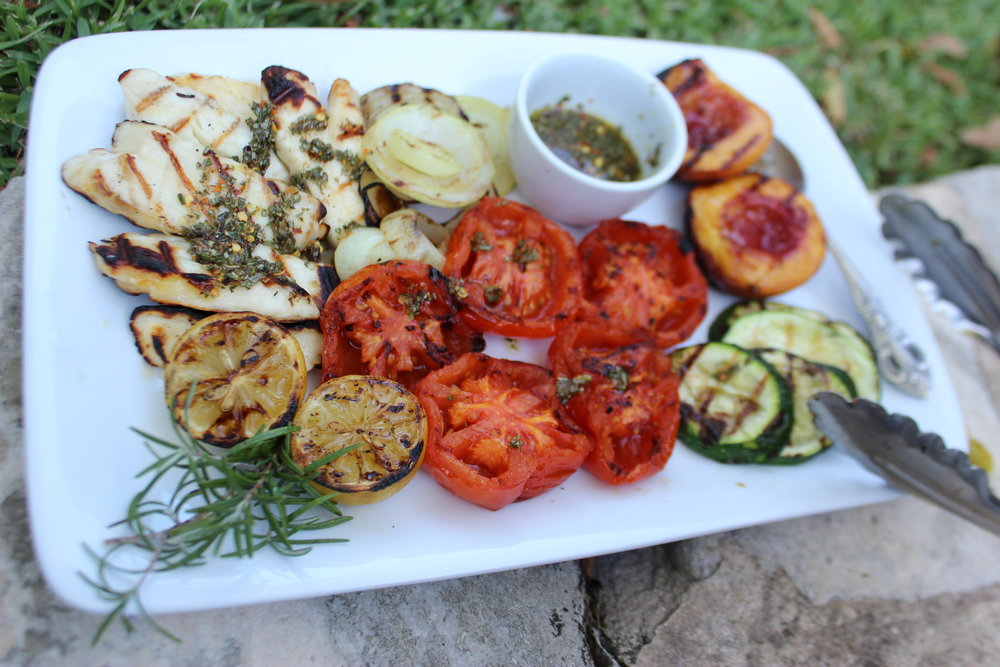 Grilled Haloumi, Fruit and Vegetable Plate with Rosemary-Chili Vinaigrette
