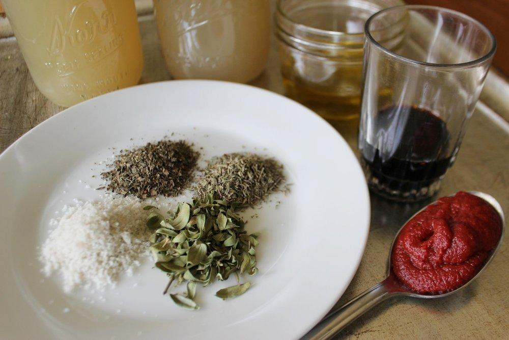 Dried Thyme, Basil, Oregano, Tomato Paste