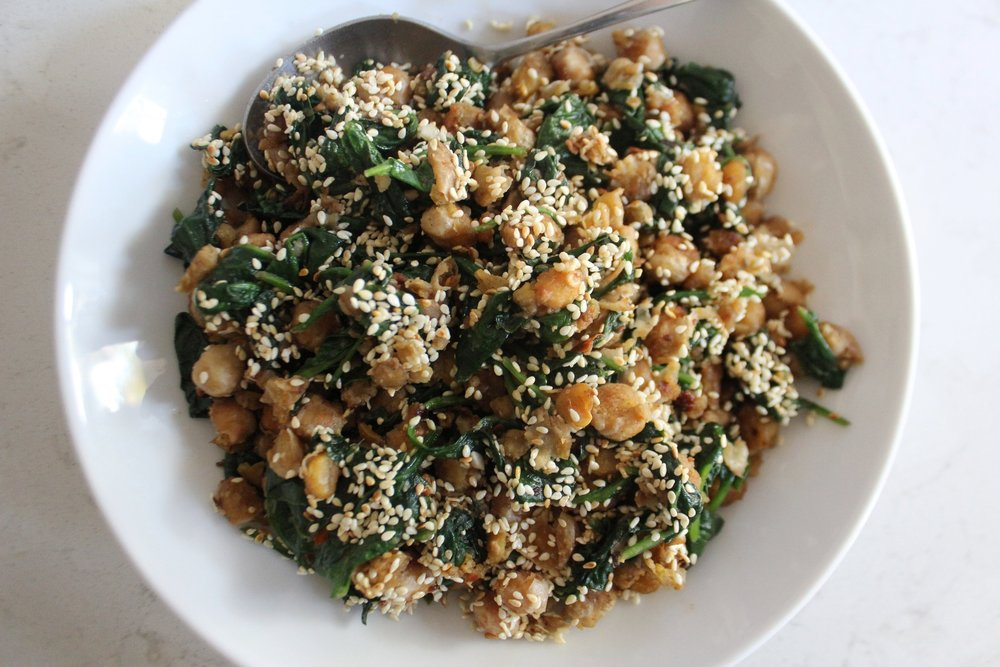 Smashed Chickpeas and Spinach with Allspice and Fennel