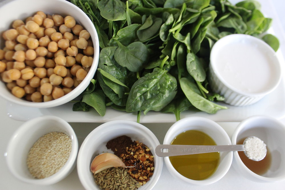Ingredients for Smashed Chickpeas and Spinach with Sesame, Allspice, and Fennel