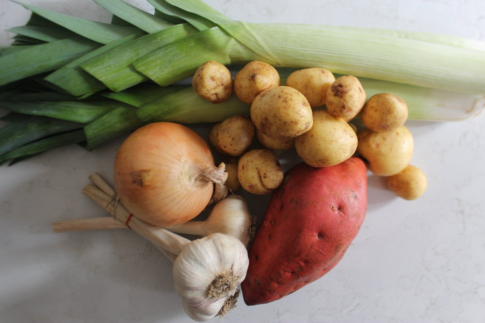 Produce for Sweet Potato Leek Soup