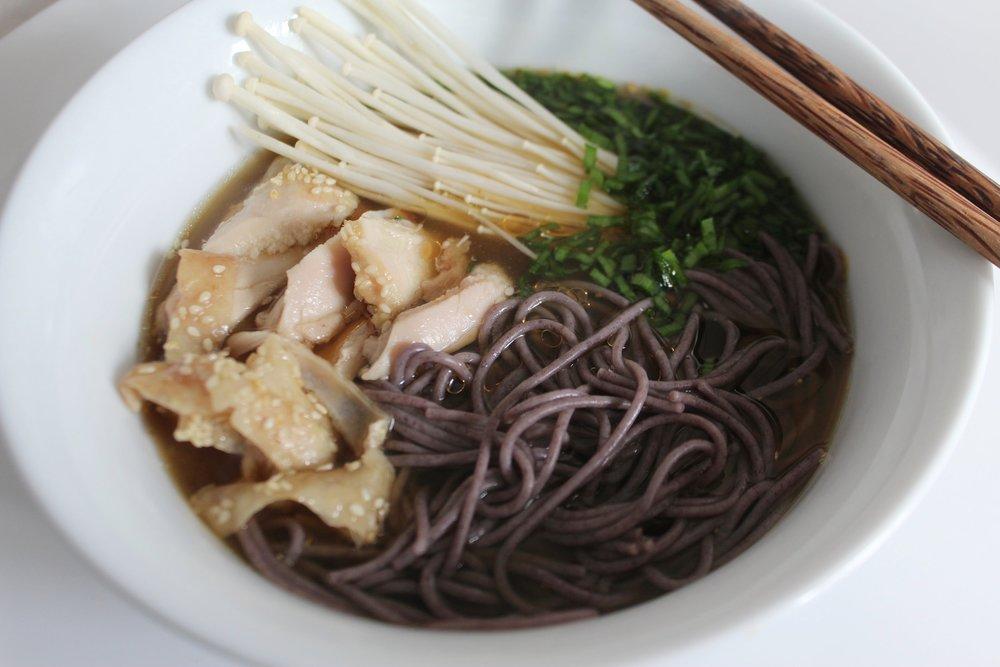 Gluten free miso noodle bowl