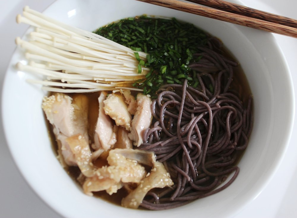 Gluten free miso noodle bowl with sesame chicken