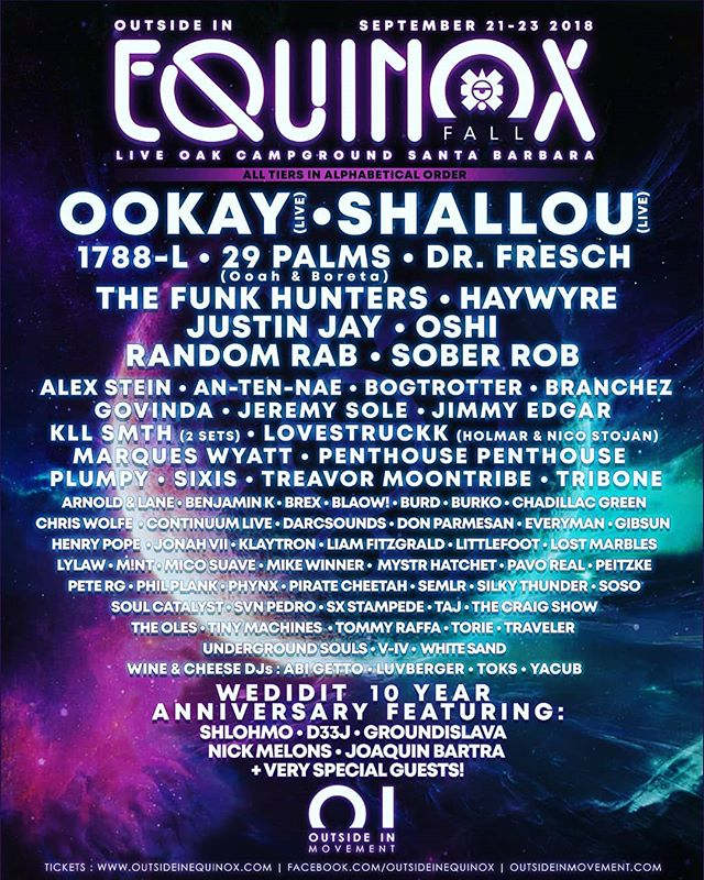 Very excited to announce our @oiequinox lineup. Sep 21-23 in Santa Barbara with some of my best friends and raddest artists I know. Please check this out...you won't be disappointed. EARLY BIRD $100 TIX IN BIO. It is our first festival and we are doing something radically different with this one. Super excited to welcome my favorite crews to play with us as well.  #glitterranch @bennjamink @silkythundermusic @ceeshow @brunch_life #divinespecies @divinespecies @darcsounds @gib_sun #wineandcheeseparty @wine.cheese.party @seantoks @luvberger_  @colton_semler @svn_pedro @peitzke @chadillac_green #micosuave #oiequinox #outsideinmovement #liveoakcampground #santabarbara