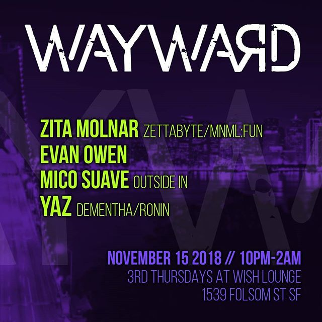 Really really really excited to announce my SF club debut in 2 weeks at @wishsf on Folsom St. Definitely one of the sweeter intimate venues I've been to. So come on over and start your weekend early on Thursday Nov 15. I have some super fun little edits to test out for the dancefloor too. Also repping my @outsideinmovement crew on this one! Thank you @yazmanian_devil for support and having me on this party and really looking forward to sharing the decks with the totally radical @zettabyte_ and @kainosnoema ... See you soon y'all!! @mego_o @mrandall3 @nat7kas @kor_builders @erinaskewed @melanie_morris_amethyst @mermeggy @joefromer @j_burn_ @yougottjess @bigoldnick @theworldofnick #wishbar #sanfrancisco #minimal #techhouse #minimaltech #outsideinmovement
