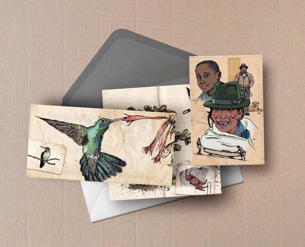 postales retales de la mitad del mundo libro ilustrado ecuador galapagos andes amazonas amazonia baños quito lationamerica ilustracion viajera viaje libreta viajes