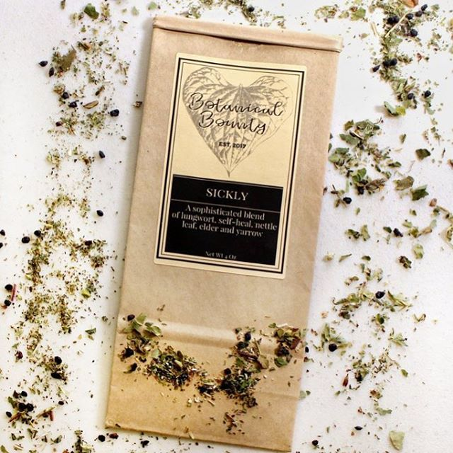 Feeling sickly? 🤧 If you have a cough or feel a 🤒 fever coming on, then this tea blend may be your saving grace. Order through the link in our bio or pay a visit to the apothecary on E 57th! 🌱 Sickly's first ingredient, Lungwort (Pulmonaria officinalis), can treat respiratory tract diseases and pulmonary ailments. Self-heal (Prunella vulgaris) has antioxidant properties that treat many viral infections of the body. Nettle Leaf (Urtica dioica) is an herb that has a long tradition of being used in a plethora of ways, one of which includes reducing TNF-alpha and other inflammatory cytokines. Elderberry (Sambucus nigra) is a soothing and healing herb that contains strong anti-viral, anti-bacterial and anti-inflammatory properties. It behaves as an immune booster and is particularly helpful for respiratory ailments such as bronchitis, laryngitis, sore throat, cold, flu and fever. Yarrow (Archilea millefolium) can be seen as a fever remedy in literature but also treats a tough cold and flu.
