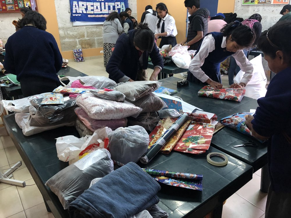 The youth group preparing gifts for the elderly