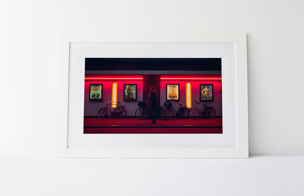 Red light cinema  40cm x 60cm print Frame included
