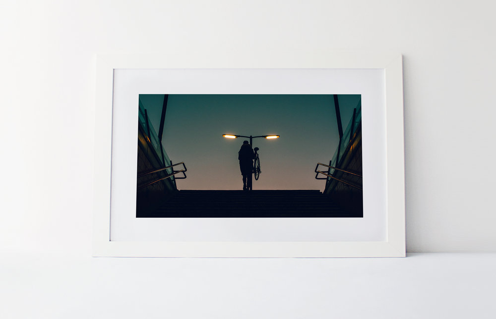 Bike at dawn  40cm x 60cm print Frame included