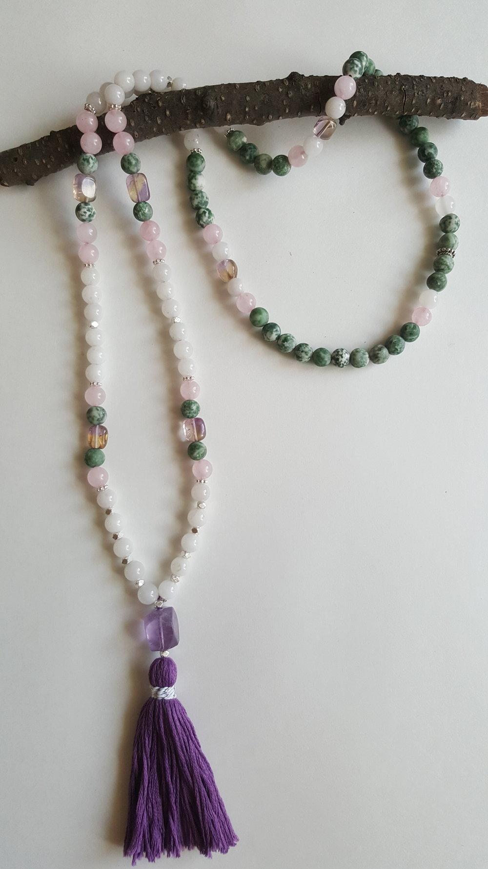 C L A R I T Y : white jade + rose quartz + amertrine + green spot stone + amethyst guru bead