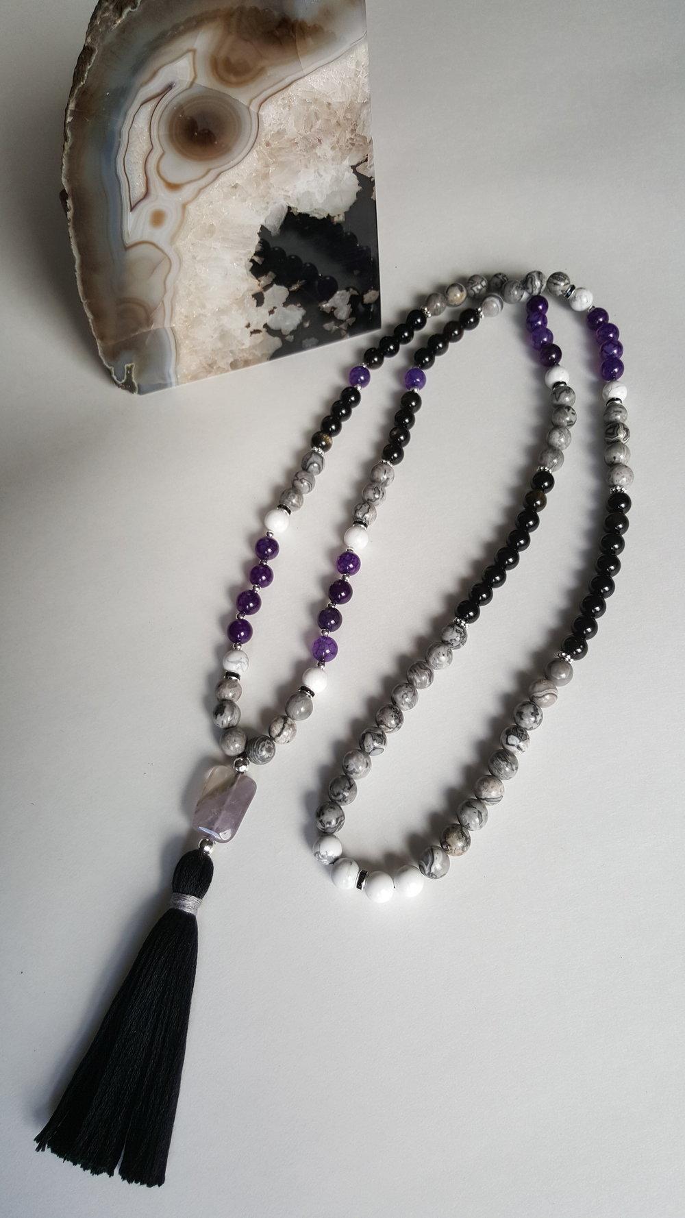 S T R E N G T H ; black obsidian + picture jasper + howlite + crackle agate + amethyst guru bead